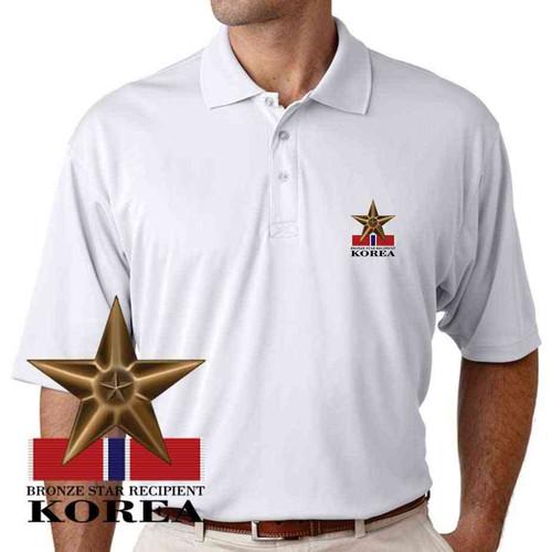 bronze star recipient korea performance polo shirt