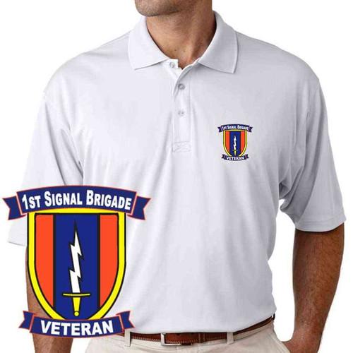 army 1st signal brigade veteran performance polo shirt