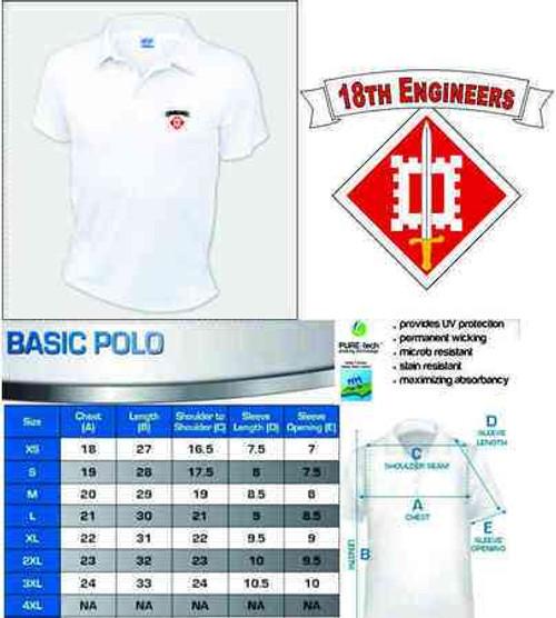 army 18th engineers performance polo shirt