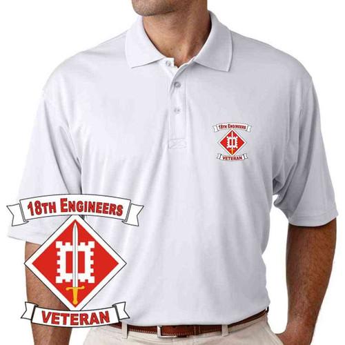army 18th engineers veteran performance polo shirt