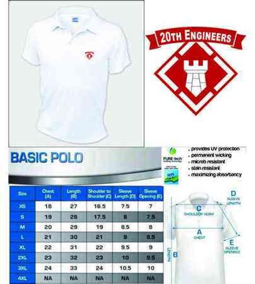 army 20th engineers performance polo shirt