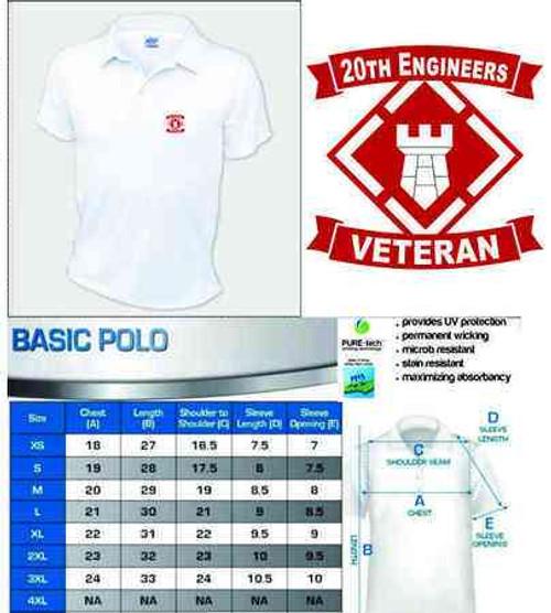 army 20th engineers veteran performance polo shirt