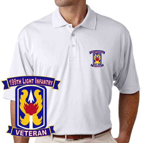 army 199th light infantry division veteran performance polo shirt