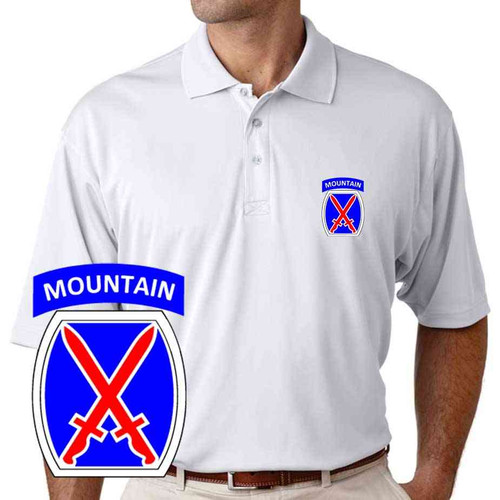 army 10th mountain division performance polo shirt