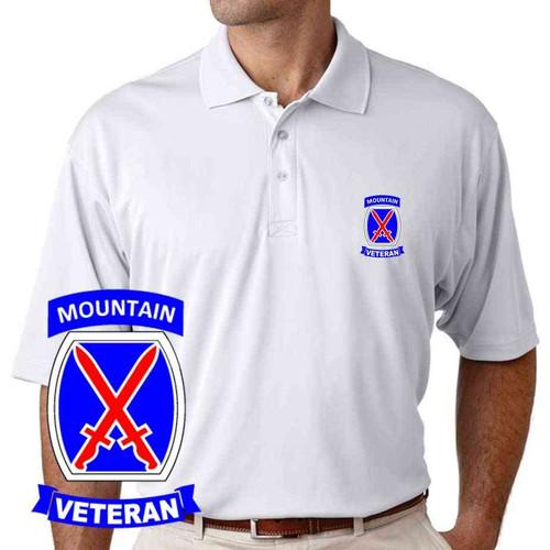 army 10th mountain division veteran performance polo shirt