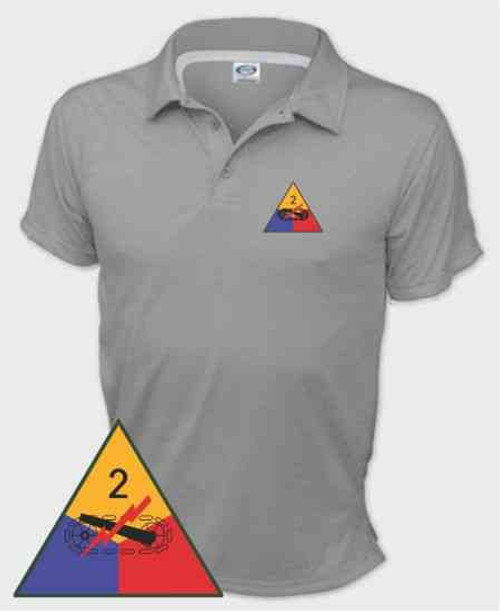 army 2nd armored division performance polo shirt
