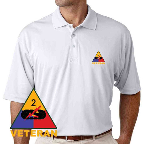 army 2nd armored division veteran performance polo shirt