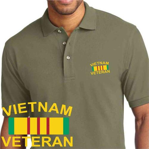 vietnam veteran ribbon embroidered olive drab green polo shirt
