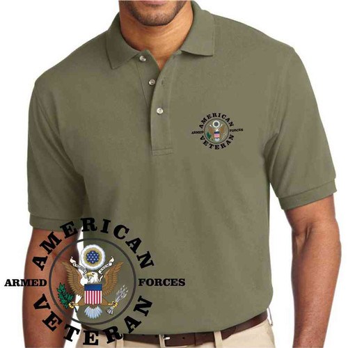 american veteran embroidered olive drab green polo shirt