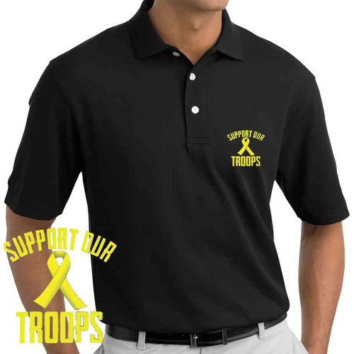 support our troops embroidered polo shirt