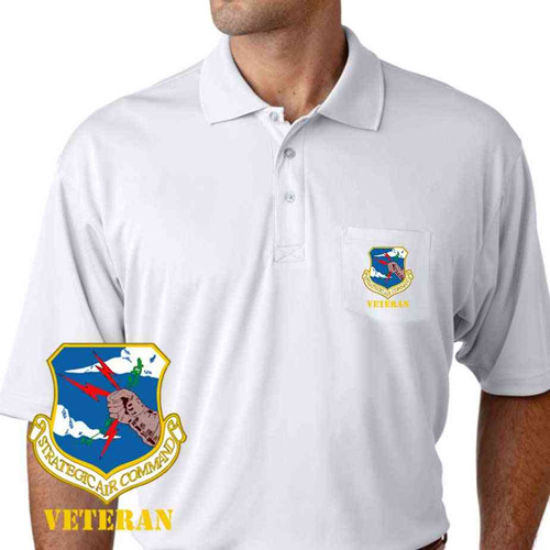 air force strategic air command veteran performance pocket polo shirt