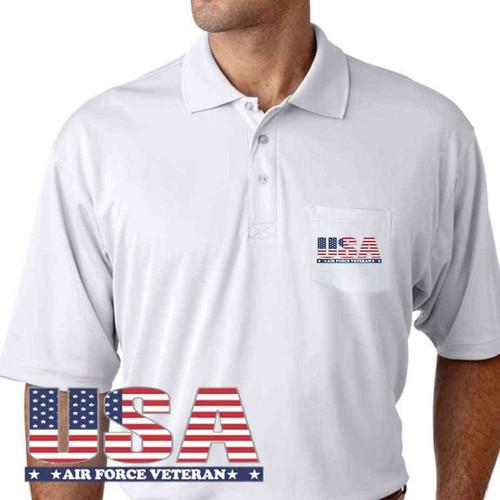 usa air force veteran performance pocket polo shirt