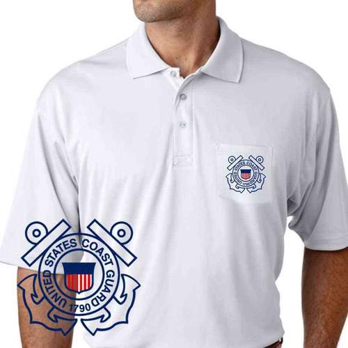 us coast guard performance pocket polo shirt