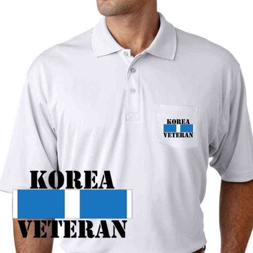 korea veteran ribbon performance pocket polo shirt