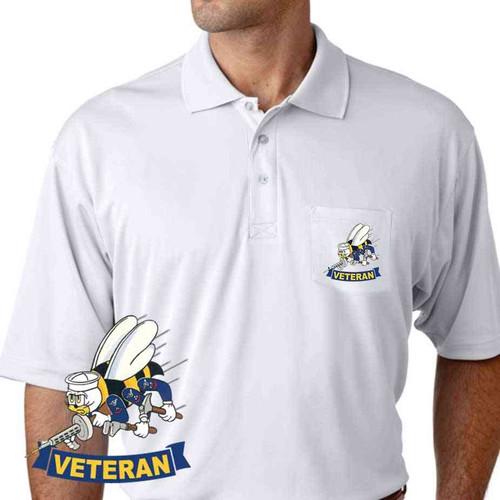 navy seabees veteran performance pocket polo shirt