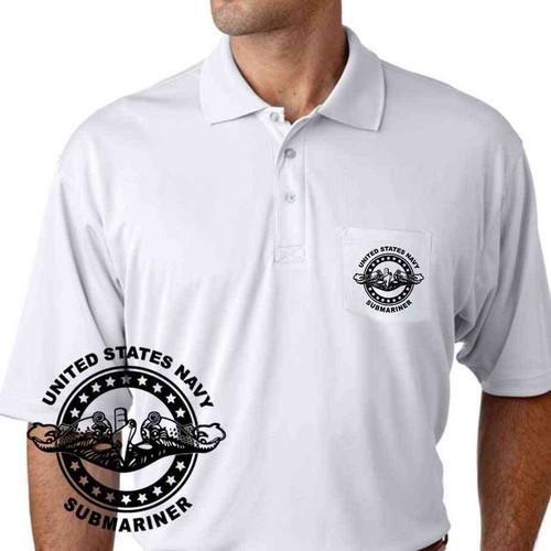 navy submarine badge performance pocket polo shirt