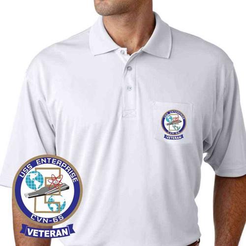 navy uss enterprise performance pocket polo shirt