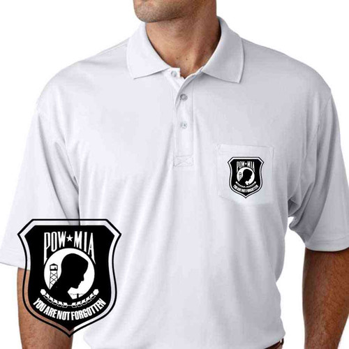 powmia you are not forgotten performance pocket polo shirt