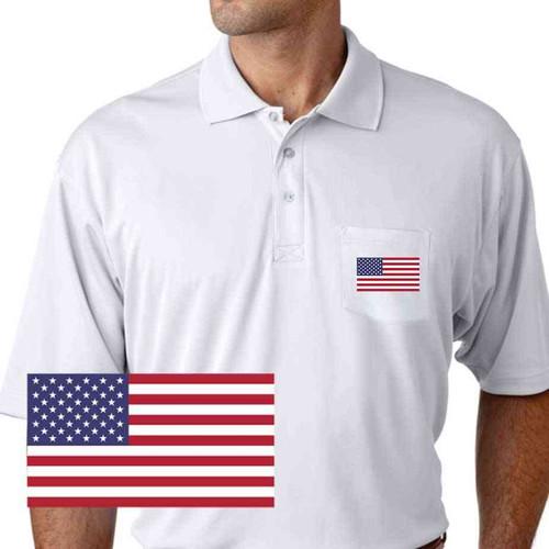 patriotic usa flag performance pocket polo shirt
