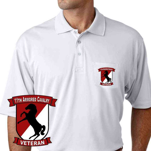 11th armored cavalry veteran performance pocket polo shirt