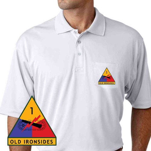 1st armored division old ironsides performance pocket polo shirt