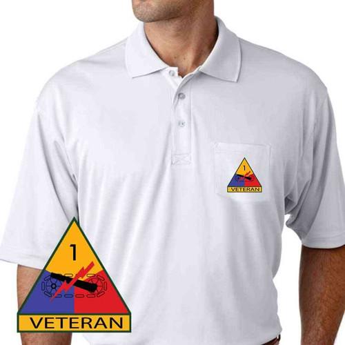 1st armored division veteran performance pocket polo shirt