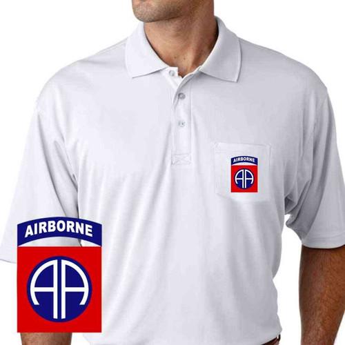 82nd airborne performance pocket polo shirt