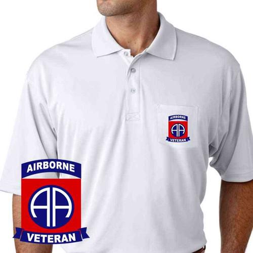 82nd airborne veteran performance pocket polo shirt