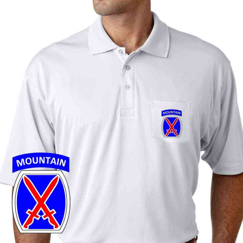 army 10th mountain division performance pocket polo shirt