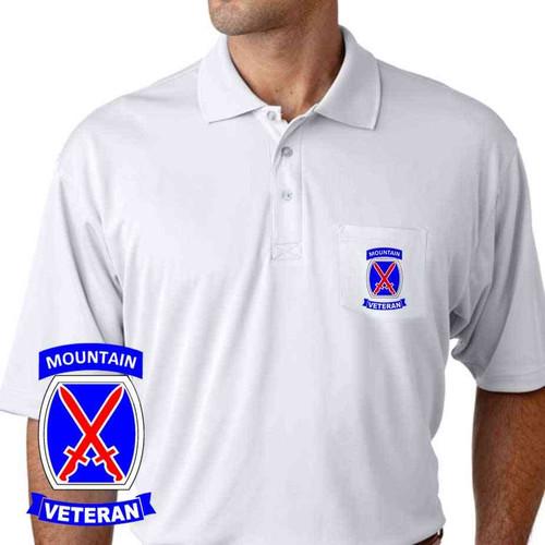army 10th mountain division veteran performance pocket polo shirt