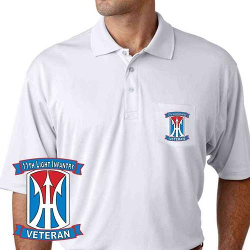 army 11th light infantry division veteran performance pocket polo shirt