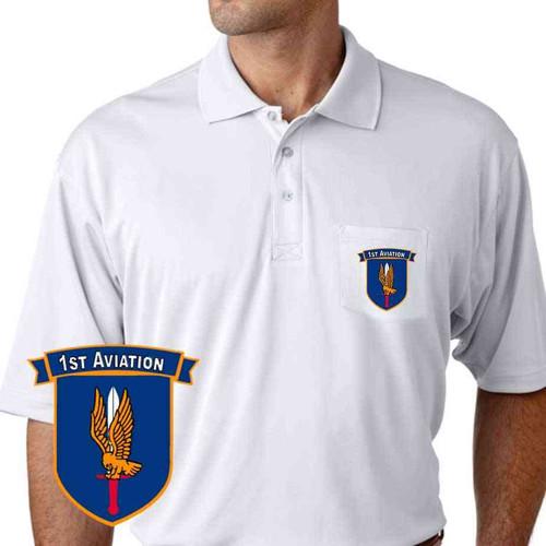 army 1st aviation performance pocket polo shirt