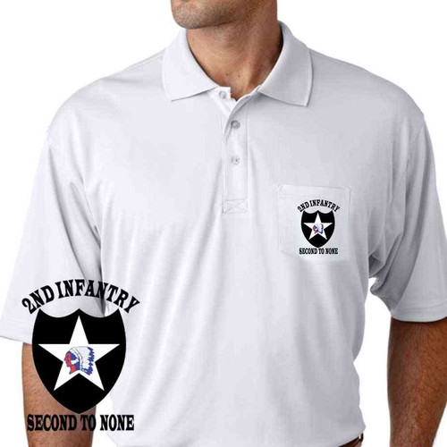 army 2nd infantry division second to none performance pocket polo shirt