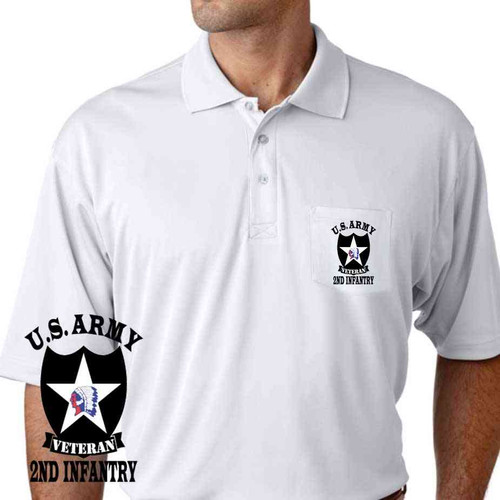 army 2nd infantry division veteran performance pocket polo shirt