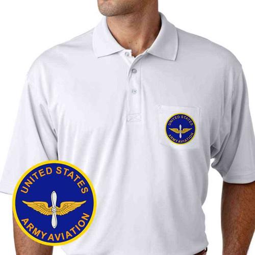 u s army aviation performance pocket polo shirt