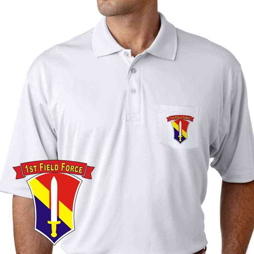 army 1st field force performance pocket polo shirt