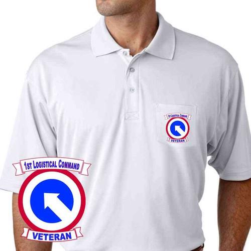 army 1st logistical command veteran performance pocket polo shirt