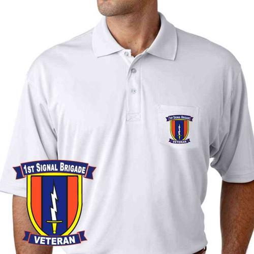 army 1st signal brigade veteran performance pocket polo shirt