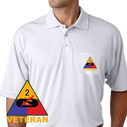 army 2nd armored division veteran performance pocket polo shirt