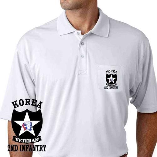 army 2nd infantry division korea veteran performance pocket polo shirt