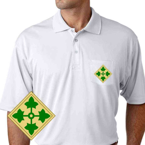 army 4th infantry division performance pocket polo shirt