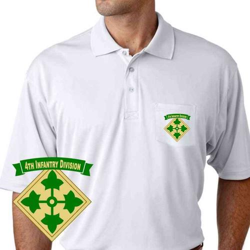 army 4th infantry division ribbon performance pocket polo shirt