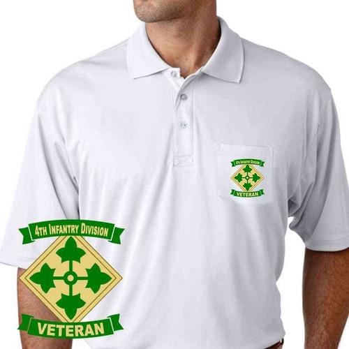army 4th infantry division veteran performance pocket polo shirt
