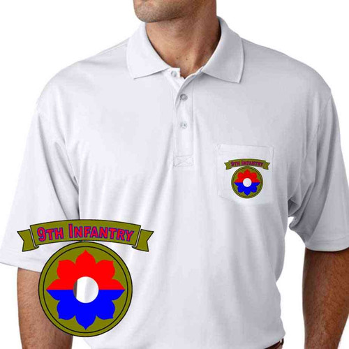 army 9th infantry division performance pocket polo shirt