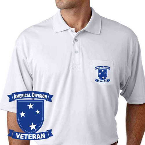 army americal 23rd infantry division veteran performance pocket polo shirt