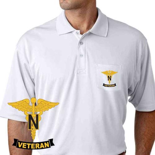 army nurse corps veteran performance pocket polo shirt