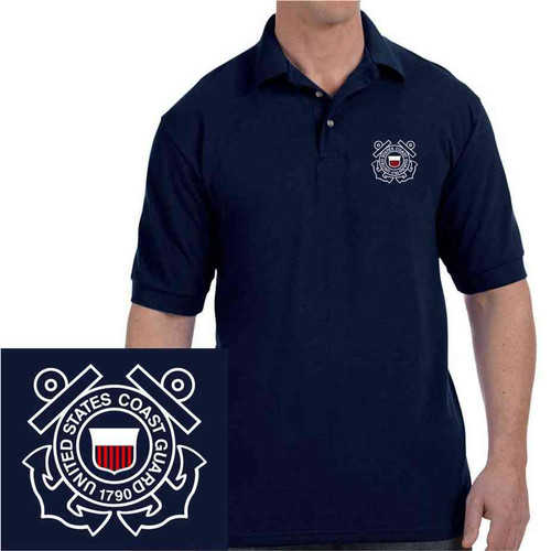officially licensed us coast guard embroidered polo shirt