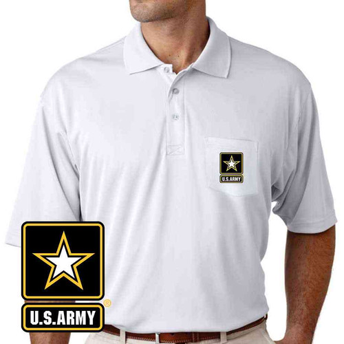the officially licensed u s army pocket performance polo