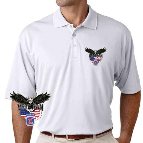 10th mountain division w eagle performance polo shirt