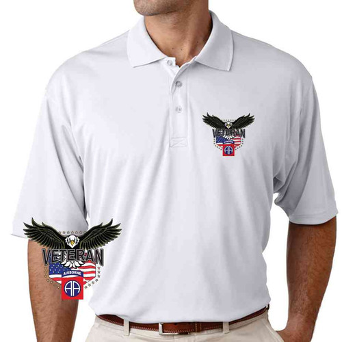 82nd airborne w eagle performance polo shirt